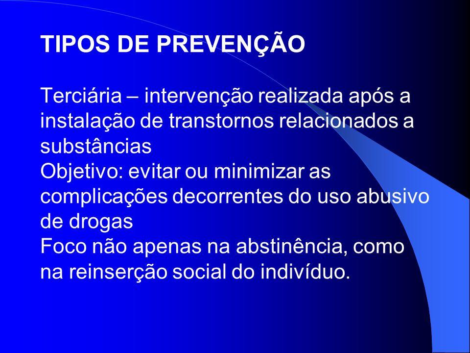 TIPOS DE PREVENÇÃO Terciária – intervenção realizada após a instalação de transtornos relacionados a substâncias Objetivo: evitar ou minimizar as comp