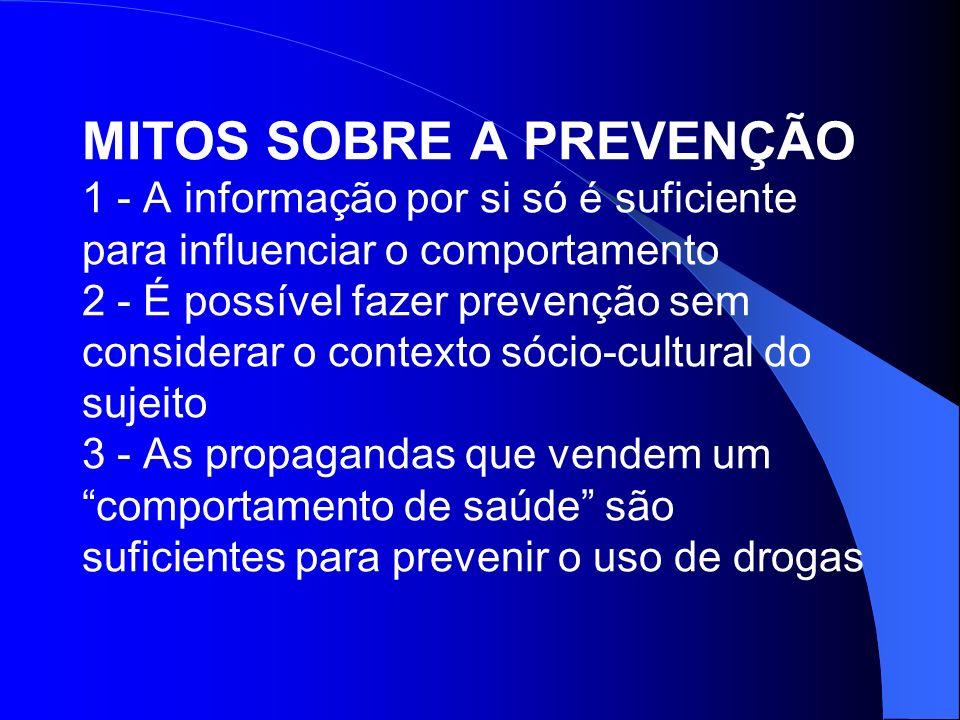 MITOS SOBRE A PREVENÇÃO 1 - A informação por si só é suficiente para influenciar o comportamento 2 - É possível fazer prevenção sem considerar o conte