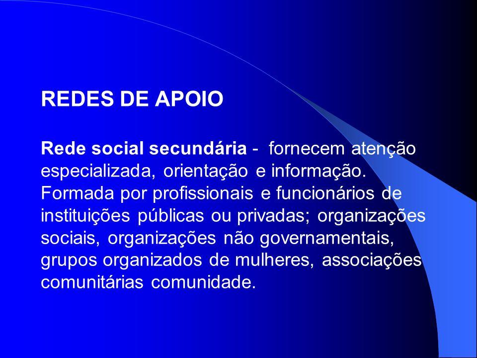 REDES DE APOIO Rede social secundária - fornecem atenção especializada, orientação e informação. Formada por profissionais e funcionários de instituiç