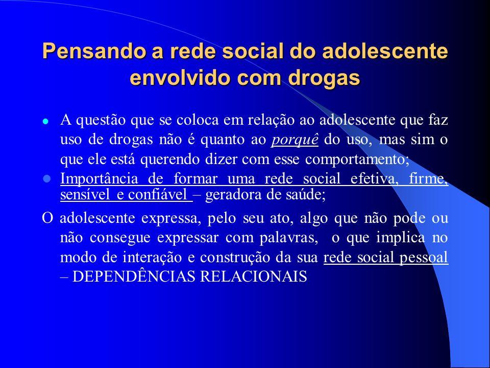 Pensando a rede social do adolescente envolvido com drogas A questão que se coloca em relação ao adolescente que faz uso de drogas não é quanto ao por
