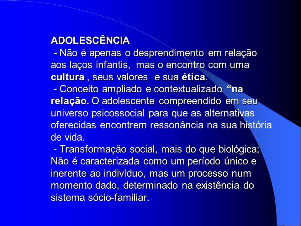 ADOLESCÊNCIA - Não é apenas o desprendimento em relação aos laços infantis, mas o encontro com uma cultura, seus valores e sua ética. - Conceito ampli
