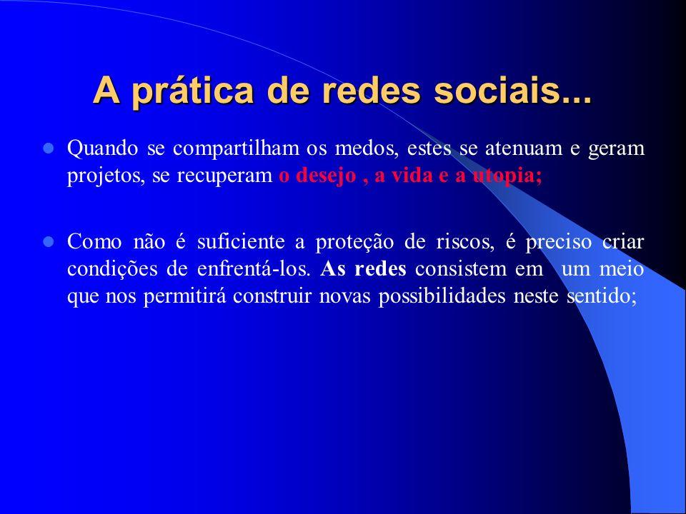 A prática de redes sociais... Quando se compartilham os medos, estes se atenuam e geram projetos, se recuperam o desejo, a vida e a utopia; Como não é
