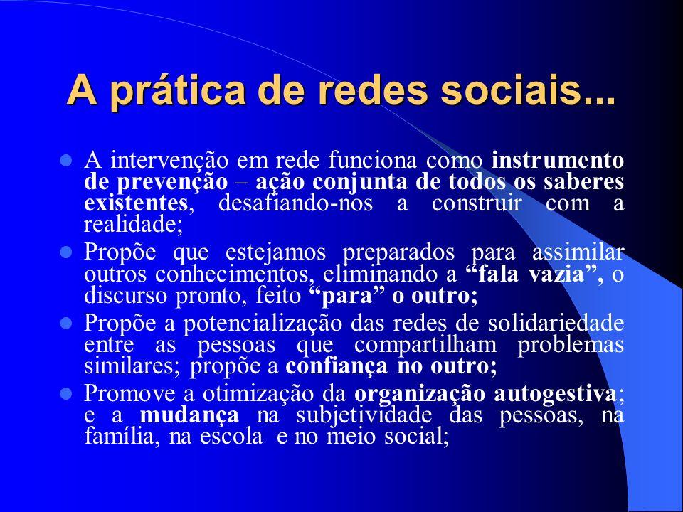 A prática de redes sociais... A intervenção em rede funciona como instrumento de prevenção – ação conjunta de todos os saberes existentes, desafiando-