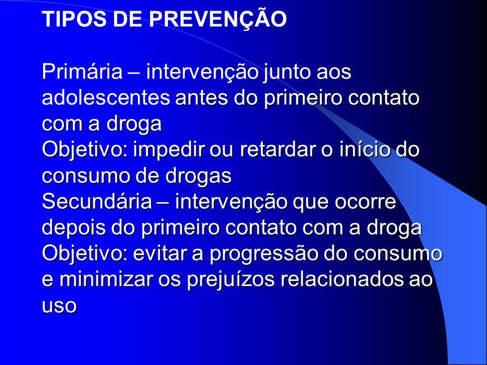 antes do primeiro contato com a droga Objetivo: impedir ou retardar o início do consumo de drogas Secundária – intervenção que ocorre depois do primei