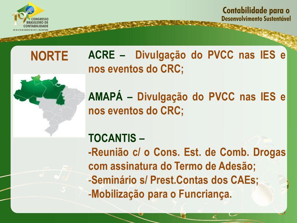 NORTE ACRE – Divulgação do PVCC nas IES e nos eventos do CRC; AMAPÁ – Divulgação do PVCC nas IES e nos eventos do CRC; TOCANTIS – -Reunião c/ o Cons.
