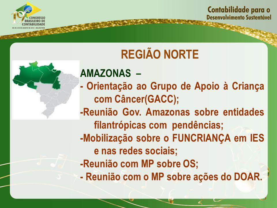 REGIÃO NORTE AMAZONAS – - Orientação ao Grupo de Apoio à Criança com Câncer(GACC); -Reunião Gov. Amazonas sobre entidades filantrópicas com pendências