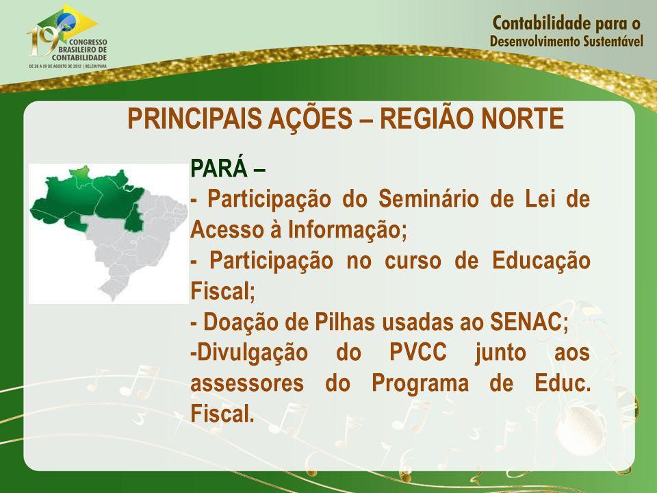 PRINCIPAIS AÇÕES – REGIÃO NORTE PARÁ – - Participação do Seminário de Lei de Acesso à Informação; - Participação no curso de Educação Fiscal; - Doação