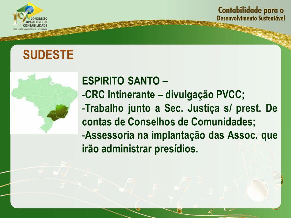 SUDESTE ESPIRITO SANTO – - CRC Intinerante – divulgação PVCC; - Trabalho junto a Sec. Justiça s/ prest. De contas de Conselhos de Comunidades; - Asses