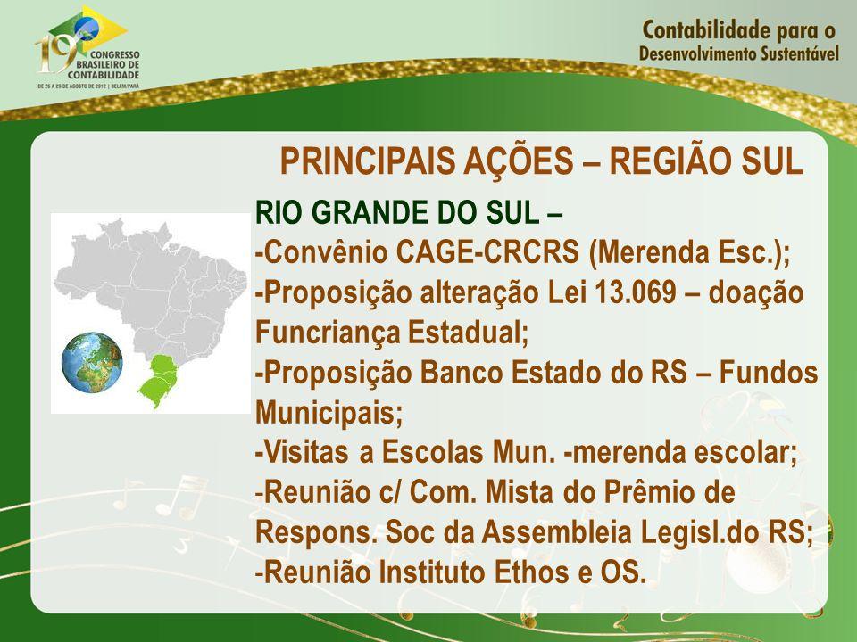 PRINCIPAIS AÇÕES – REGIÃO SUL RIO GRANDE DO SUL – -Convênio CAGE-CRCRS (Merenda Esc.); -Proposição alteração Lei 13.069 – doação Funcriança Estadual;