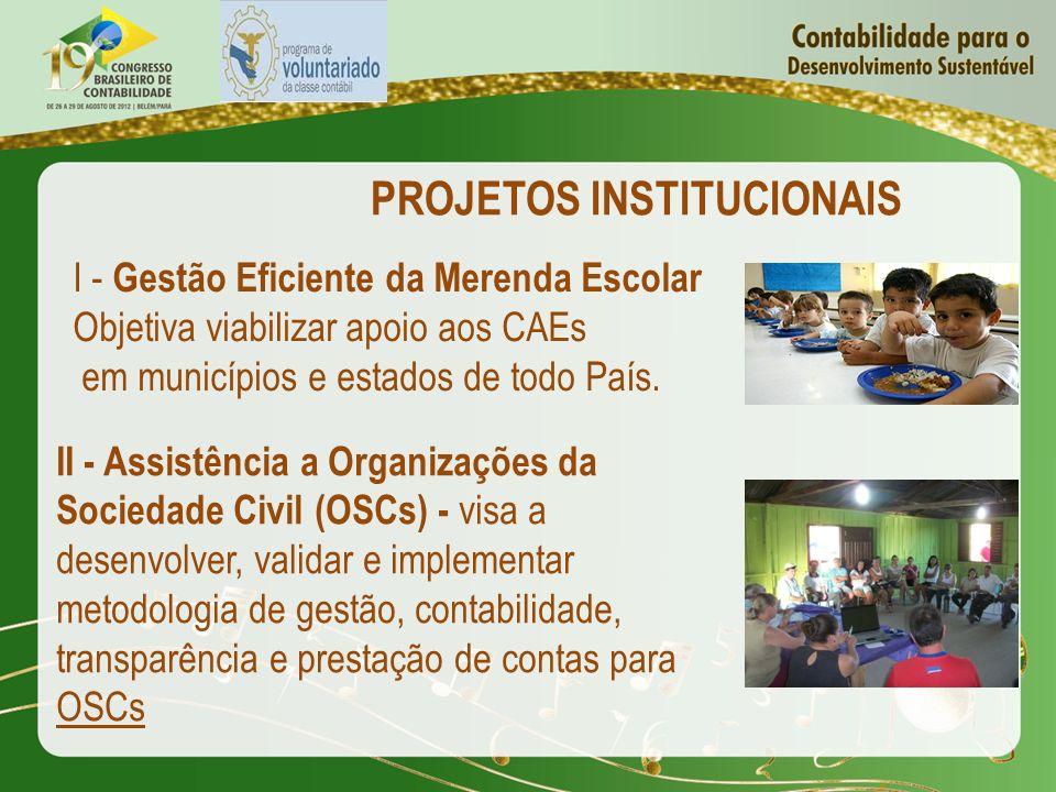 PROJETOS INSTITUCIONAIS I - Gestão Eficiente da Merenda Escolar Objetiva viabilizar apoio aos CAEs em municípios e estados de todo País. II - Assistên