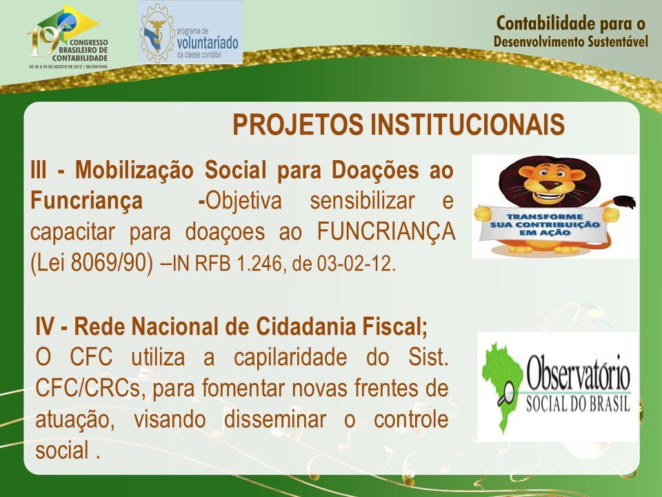 PROJETOS INSTITUCIONAIS III - Mobilização Social para Doações ao Funcriança - Objetiva sensibilizar e capacitar para doaçoes ao FUNCRIANÇA (Lei 8069/9