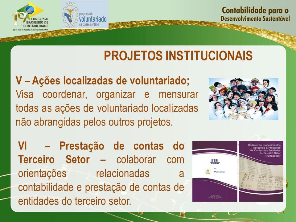 PROJETOS INSTITUCIONAIS V – Ações localizadas de voluntariado; Visa coordenar, organizar e mensurar todas as ações de voluntariado localizadas não abr