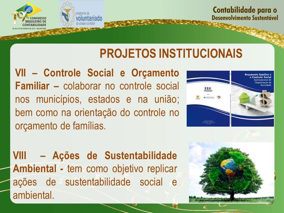 PROJETOS INSTITUCIONAIS VII – Controle Social e Orçamento Familiar – colaborar no controle social nos municípios, estados e na união; bem como na orie