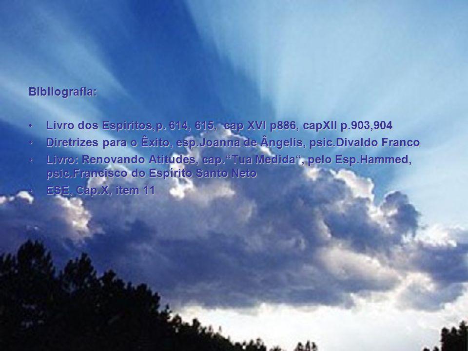 Bibliografia: Livro dos Espiritos,p. 614, 615, cap XVI p886, capXII p.903,904Livro dos Espiritos,p. 614, 615, cap XVI p886, capXII p.903,904 Diretrize