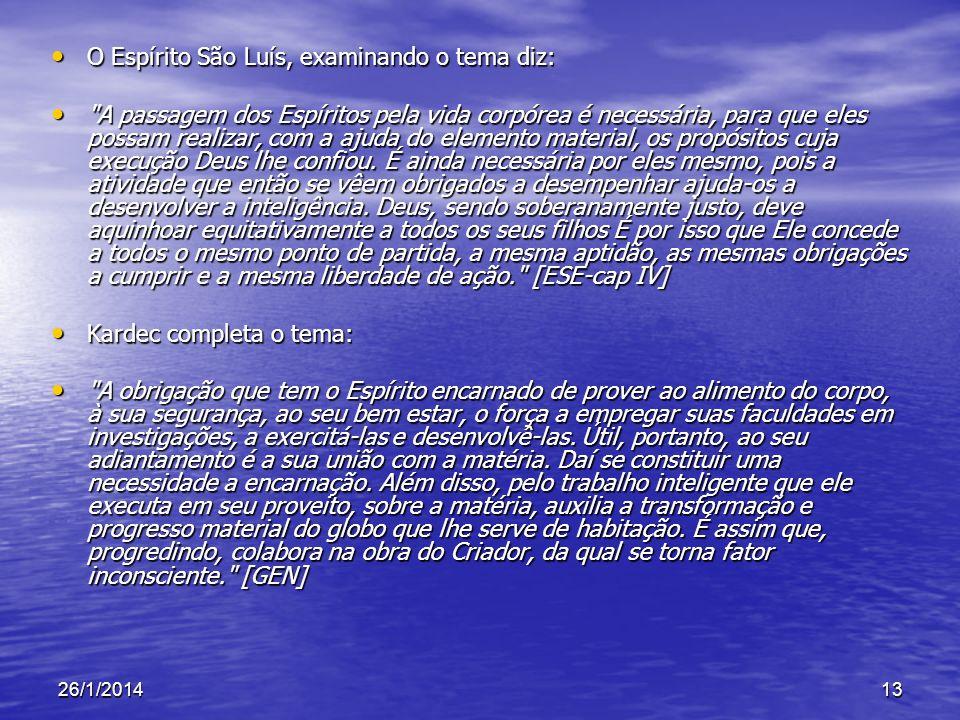 26/1/201413 O Espírito São Luís, examinando o tema diz: O Espírito São Luís, examinando o tema diz: