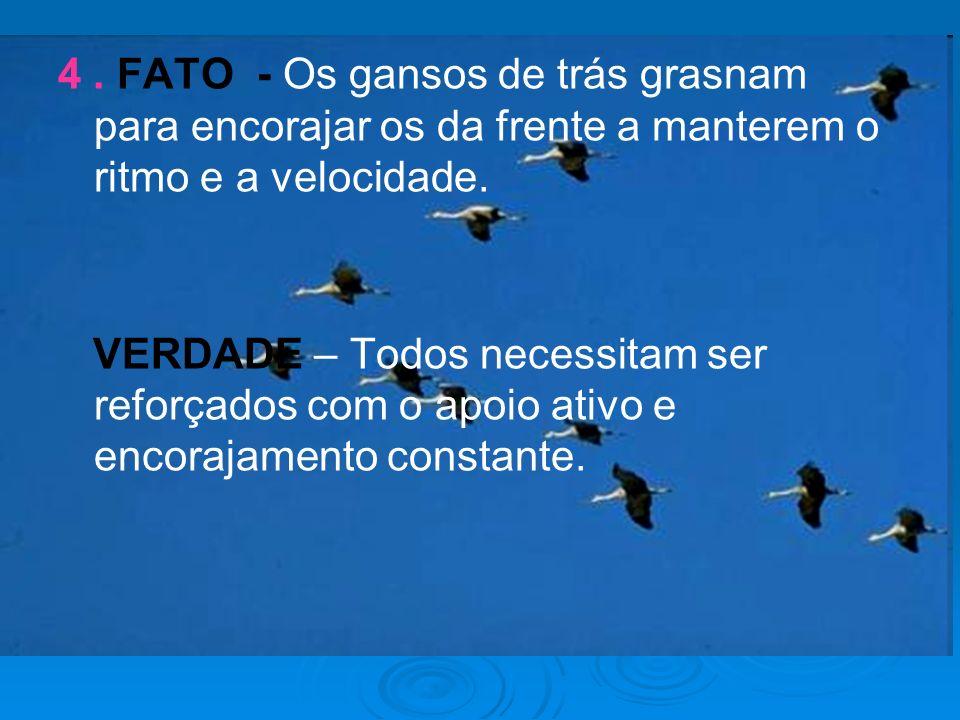4. FATO - Os gansos de trás grasnam para encorajar os da frente a manterem o ritmo e a velocidade. VERDADE – Todos necessitam ser reforçados com o apo