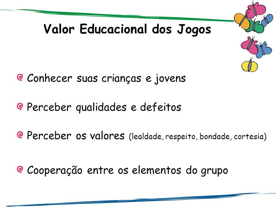 Valor Educacional dos Jogos Conhecer suas crianças e jovens Perceber qualidades e defeitos Perceber os valores (lealdade, respeito, bondade, cortesia)