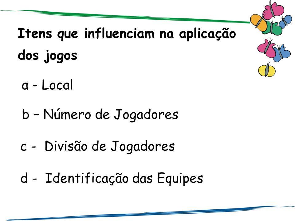 Itens que influenciam na aplicação dos jogos a - Local b – Número de Jogadores c - Divisão de Jogadores d - Identificação das Equipes