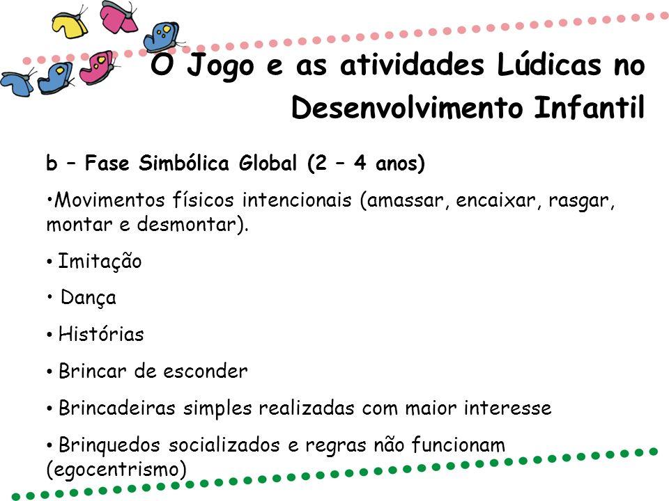 O Jogo e as atividades Lúdicas no Desenvolvimento Infantil b – Fase Simbólica Global (2 – 4 anos) Movimentos físicos intencionais (amassar, encaixar,