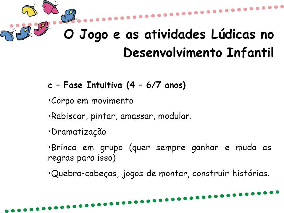 O Jogo e as atividades Lúdicas no Desenvolvimento Infantil c – Fase Intuitiva (4 – 6/7 anos) Corpo em movimento Rabiscar, pintar, amassar, modular. Dr