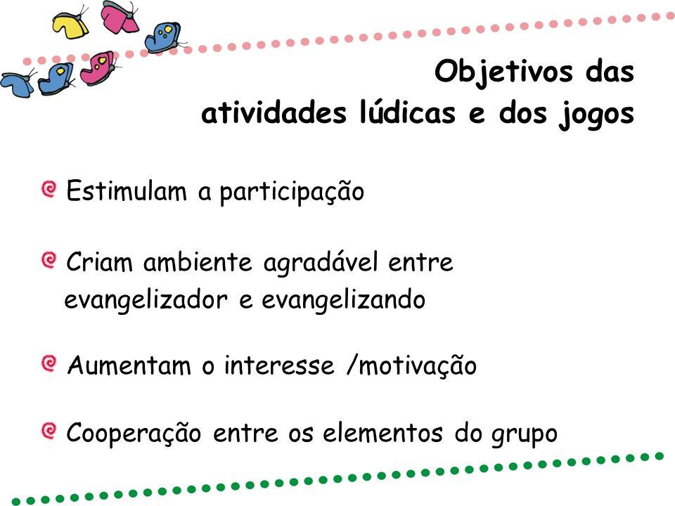 Objetivos das atividades lúdicas e dos jogos Estimulam a participação Criam ambiente agradável entre evangelizador e evangelizando Aumentam o interess