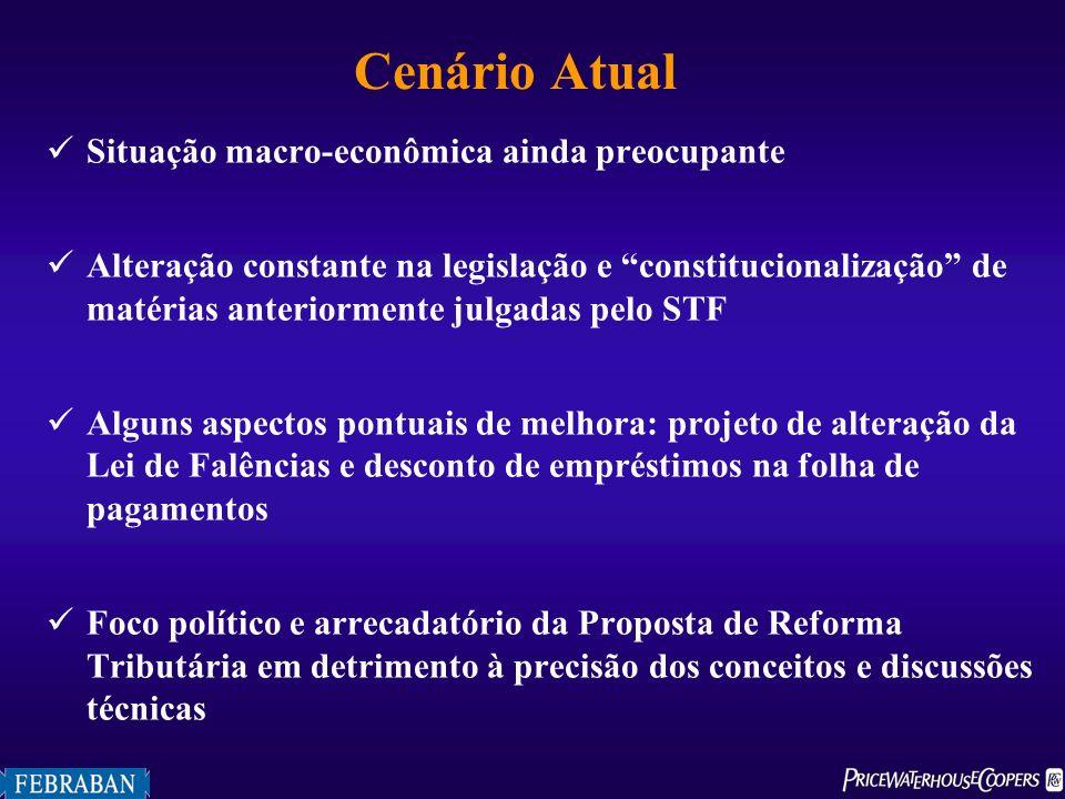 Cenário Atual Situação macro-econômica ainda preocupante Alteração constante na legislação e constitucionalização de matérias anteriormente julgadas p