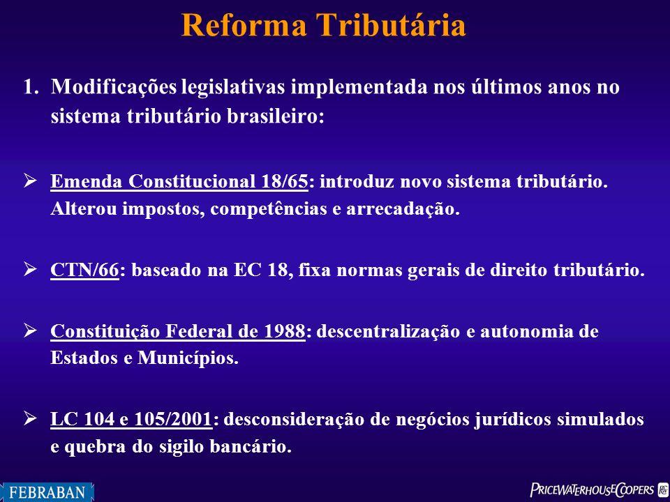 Reforma Tributária 1.Modificações legislativas implementada nos últimos anos no sistema tributário brasileiro: Emenda Constitucional 18/65: introduz n