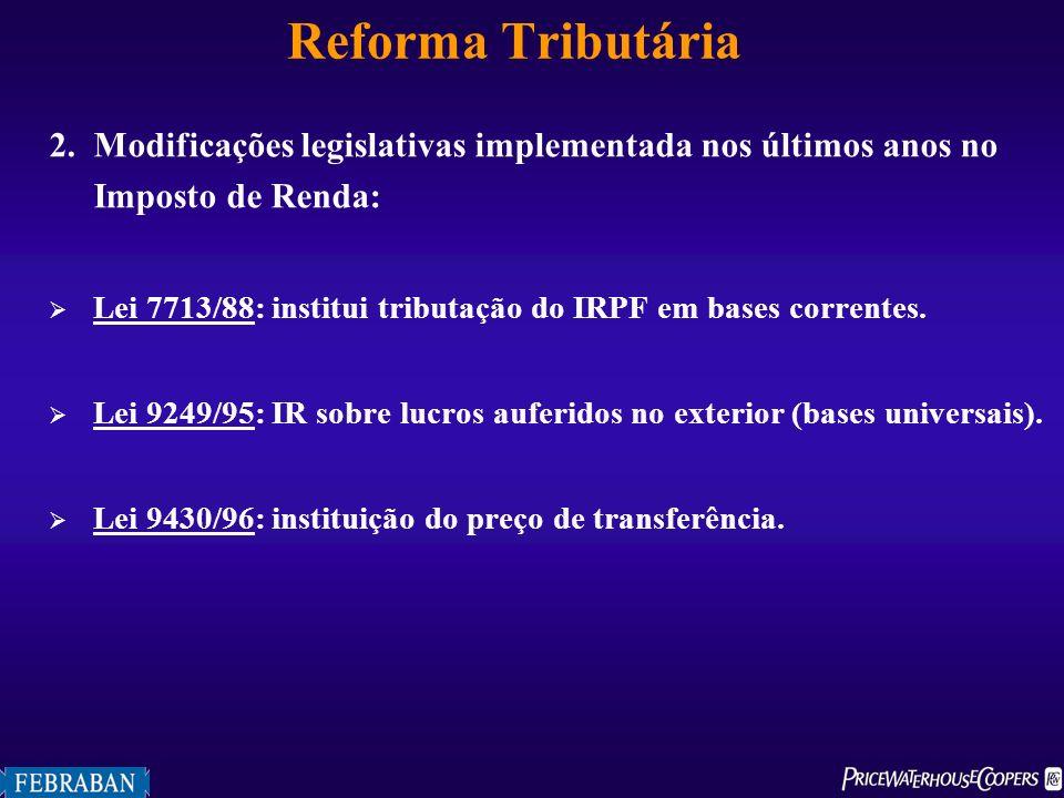 Reforma Tributária 2.Modificações legislativas implementada nos últimos anos no Imposto de Renda: Lei 7713/88: institui tributação do IRPF em bases co