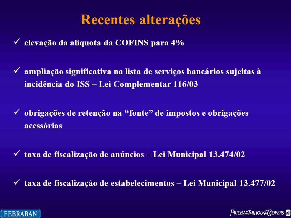 Recentes alterações elevação da alíquota da COFINS para 4% ampliação significativa na lista de serviços bancários sujeitas à incidência do ISS – Lei C