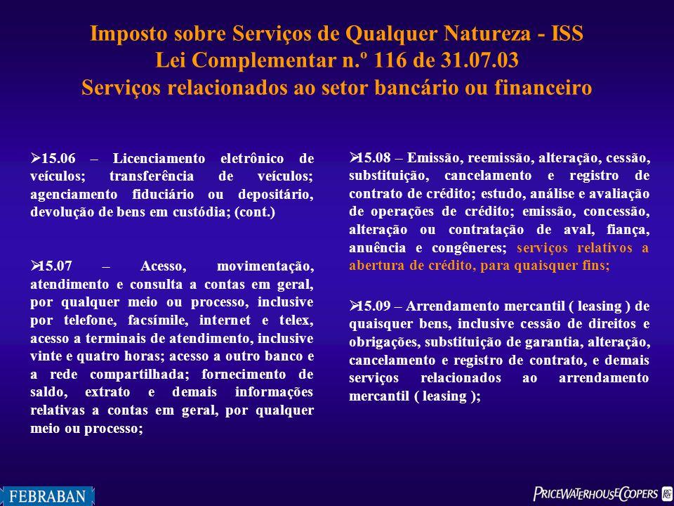 Imposto sobre Serviços de Qualquer Natureza - ISS Lei Complementar n.º 116 de 31.07.03 Serviços relacionados ao setor bancário ou financeiro 15.06 – L