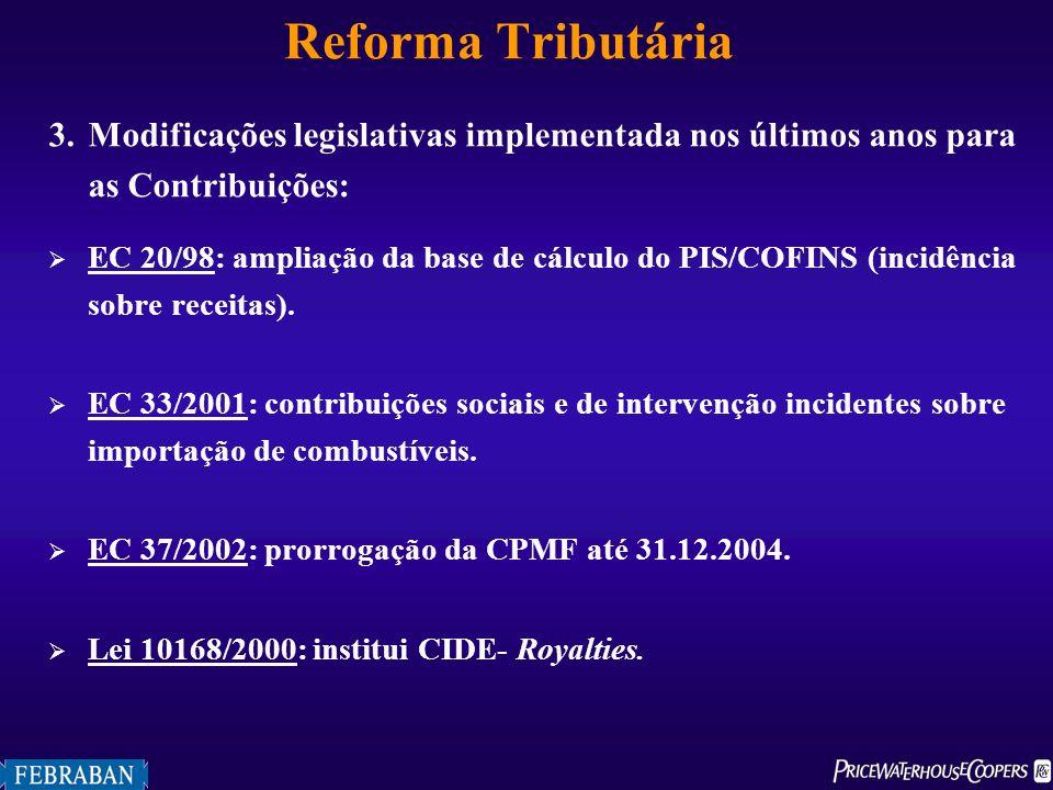 Reforma Tributária 3.Modificações legislativas implementada nos últimos anos para as Contribuições: EC 20/98: ampliação da base de cálculo do PIS/COFI