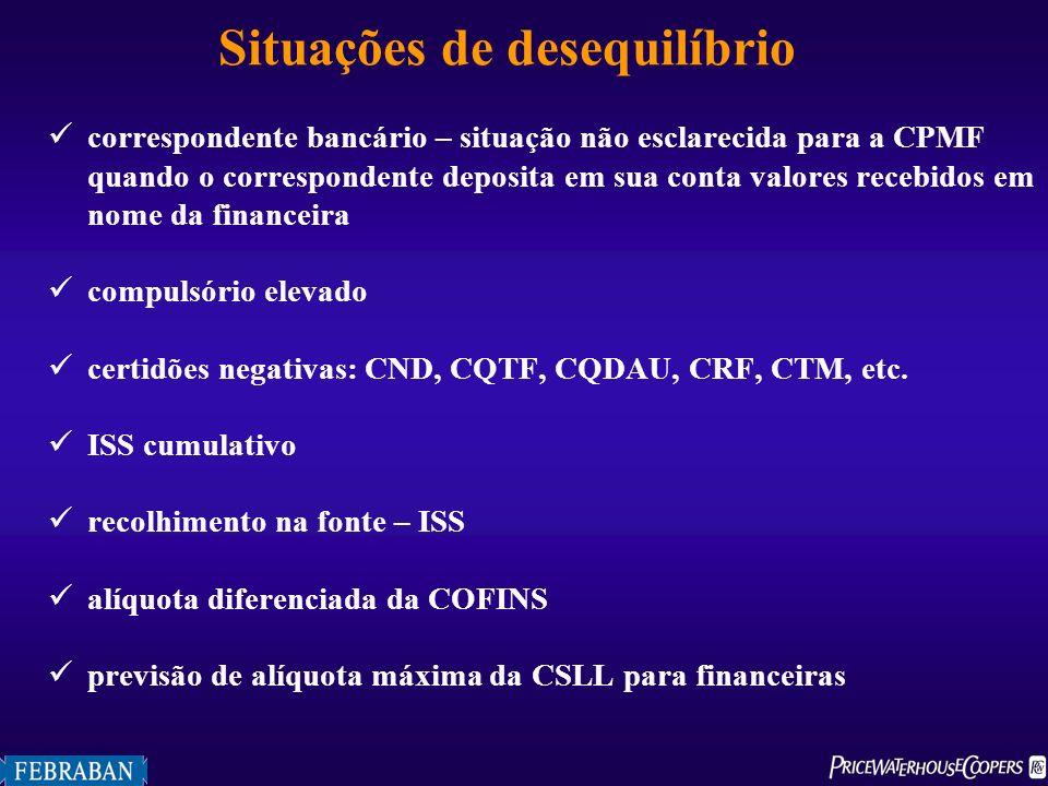 Situações de desequilíbrio correspondente bancário – situação não esclarecida para a CPMF quando o correspondente deposita em sua conta valores recebi