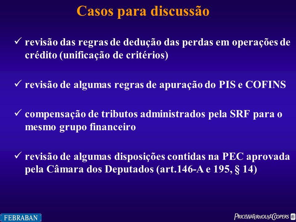 Casos para discussão revisão das regras de dedução das perdas em operações de crédito (unificação de critérios) revisão de algumas regras de apuração