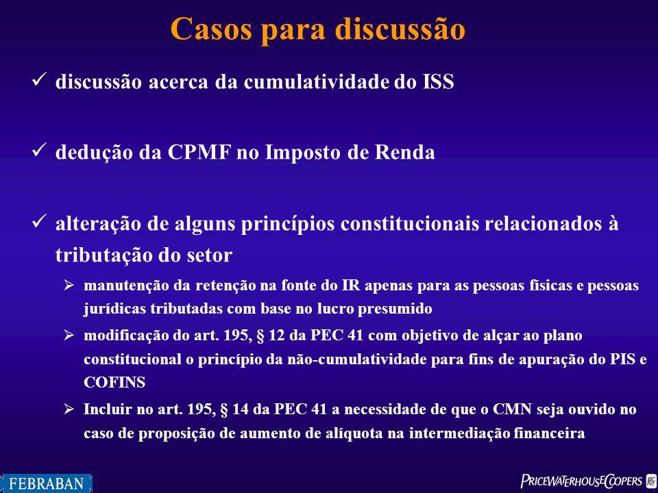Casos para discussão discussão acerca da cumulatividade do ISS dedução da CPMF no Imposto de Renda alteração de alguns princípios constitucionais rela