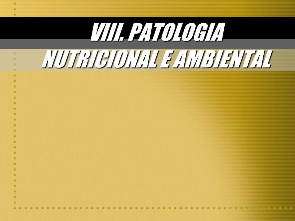 ALCOOLISMO Alterações do SNC: Causadas por deficiência de vitamina B 1 (tiamina):Causadas por deficiência de vitamina B 1 (tiamina): –Degenarção neuronal –Gliose reativa –Atrofia cerebelar e de nervos periféricos –Síndrome de Wernicke (ataxia + confusão + oftalmoplegia) –Síndrome de Korsakoff (graves prejuízos da memória) Alterações CARDIOVASCULARES: Toxicidade direta do etanol cardiomiopatia dilatadaToxicidade direta do etanol cardiomiopatia dilatada Hipertensão arterial sistêmicaHipertensão arterial sistêmica * uso moderado de álcool tem efeitos benéficos: – HDL-colesterol e LDL-colesterol – agregação plaquetária