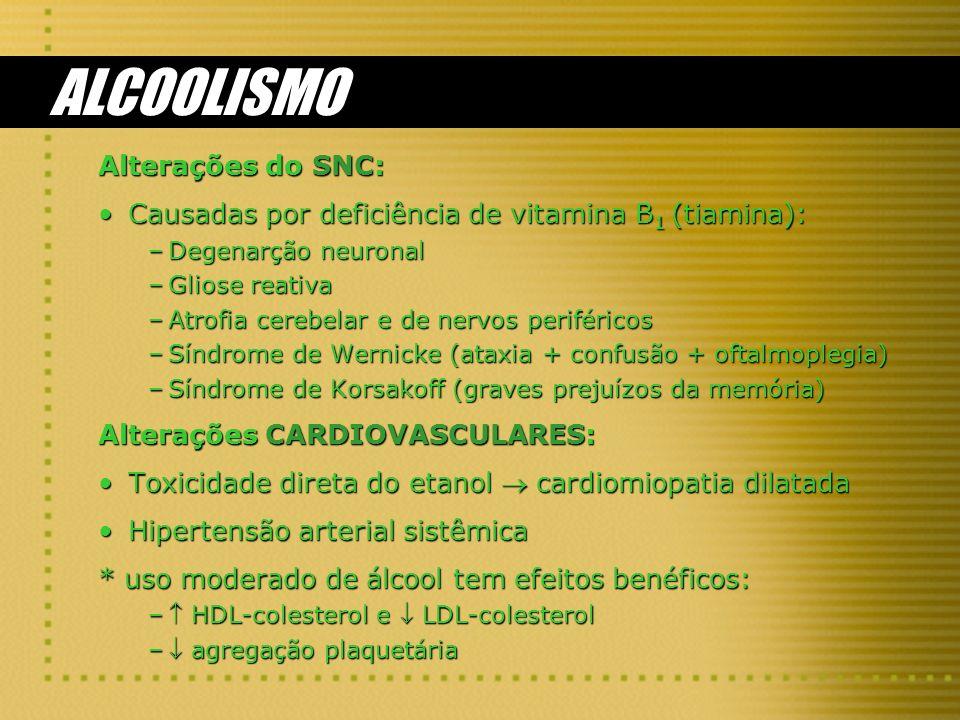 ALCOOLISMO Alterações do SNC: Causadas por deficiência de vitamina B 1 (tiamina):Causadas por deficiência de vitamina B 1 (tiamina): –Degenarção neuro