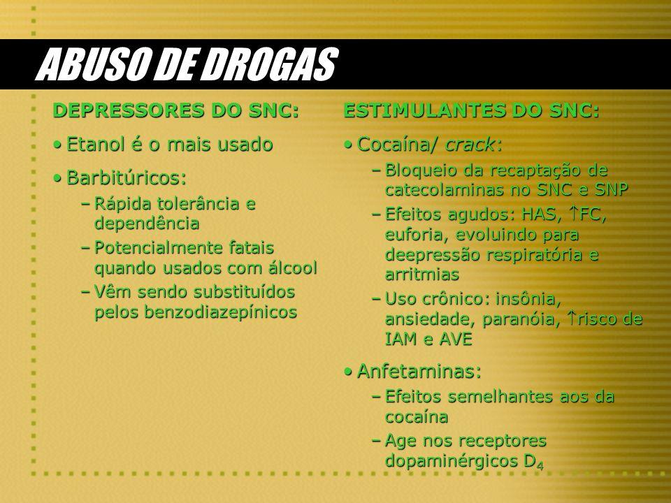 ABUSO DE DROGAS DEPRESSORES DO SNC: Etanol é o mais usadoEtanol é o mais usado Barbitúricos:Barbitúricos: –Rápida tolerância e dependência –Potencialmente fatais quando usados com álcool –Vêm sendo substituídos pelos benzodiazepínicos ESTIMULANTES DO SNC: Cocaína/ crack: –Bloqueio da recaptação de catecolaminas no SNC e SNP –Efeitos agudos: HAS, FC, euforia, evoluindo para deepressão respiratória e arritmias –Uso crônico: insônia, ansiedade, paranóia, risco de IAM e AVE Anfetaminas: –Efeitos semelhantes aos da cocaína –Age nos receptores dopaminérgicos D 4
