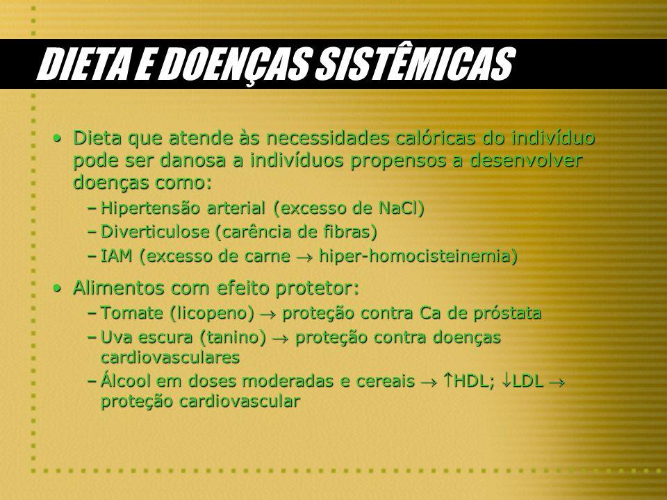 DIETA E DOENÇAS SISTÊMICAS Dieta que atende às necessidades calóricas do indivíduo pode ser danosa a indivíduos propensos a desenvolver doenças como:D