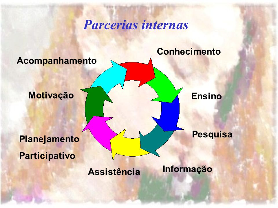 Parcerias internas Conhecimento Ensino Pesquisa Informação Assistência Planejamento Participativo Motivação Acompanhamento
