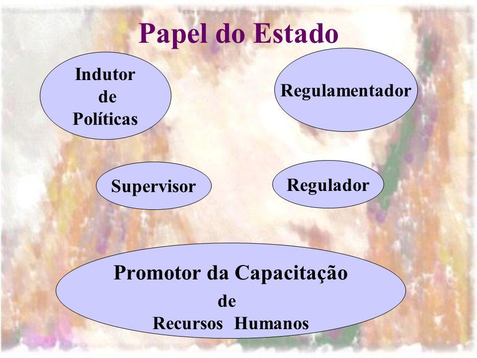 Papel do Estado Indutor de Políticas Regulamentador Supervisor Promotor da Capacitação de Recursos Humanos Regulador