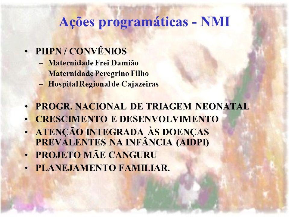 Ações programáticas - NMI PHPN / CONVÊNIOS –Maternidade Frei Damião –Maternidade Peregrino Filho –Hospital Regional de Cajazeiras PROGR. NACIONAL DE T