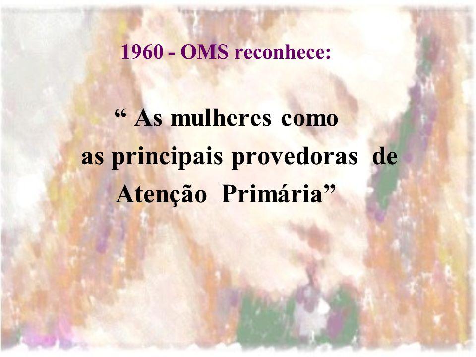 1960 - OMS reconhece: As mulheres como as principais provedoras de Atenção Primária