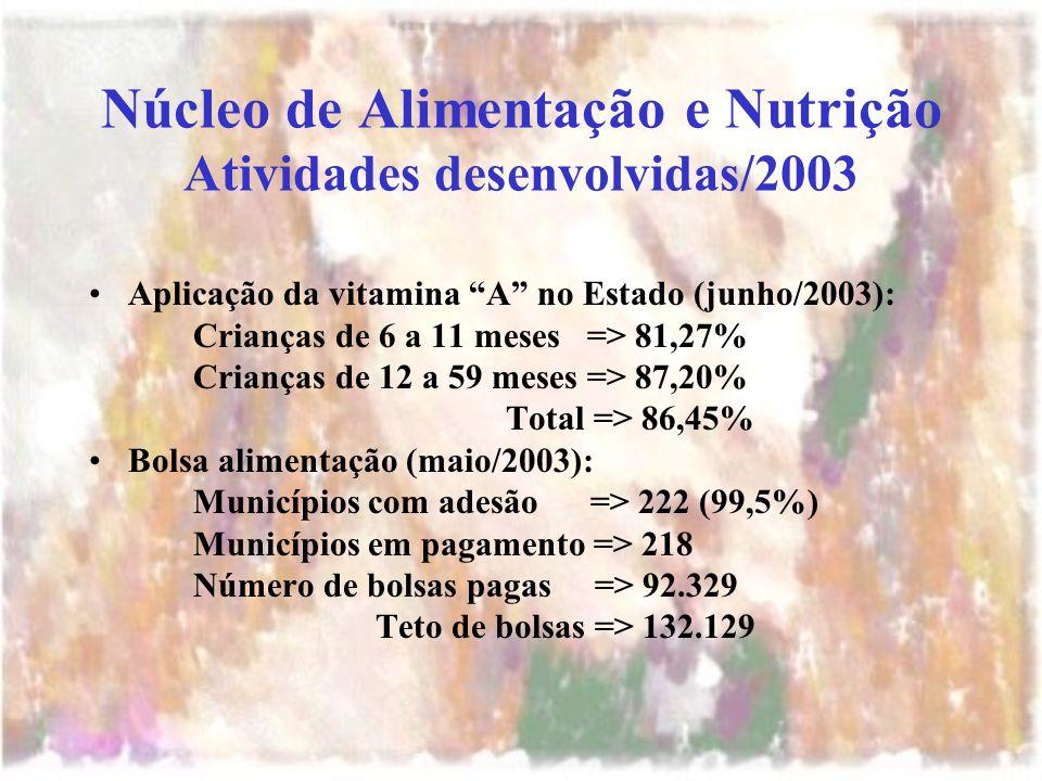 Núcleo de Alimentação e Nutrição Atividades desenvolvidas/2003 Aplicação da vitamina A no Estado (junho/2003): Crianças de 6 a 11 meses => 81,27% Crianças de 12 a 59 meses => 87,20% Total => 86,45% Bolsa alimentação (maio/2003): Municípios com adesão => 222 (99,5%) Municípios em pagamento => 218 Número de bolsas pagas => 92.329 Teto de bolsas => 132.129