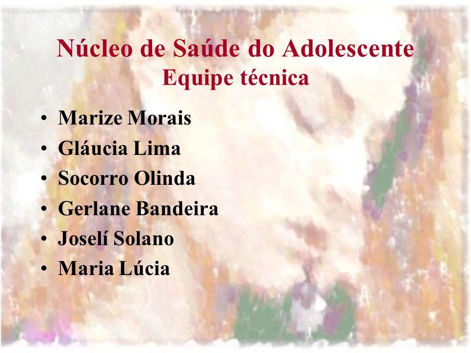 Núcleo de Saúde do Adolescente Equipe técnica Marize Morais Gláucia Lima Socorro Olinda Gerlane Bandeira Joselí Solano Maria Lúcia