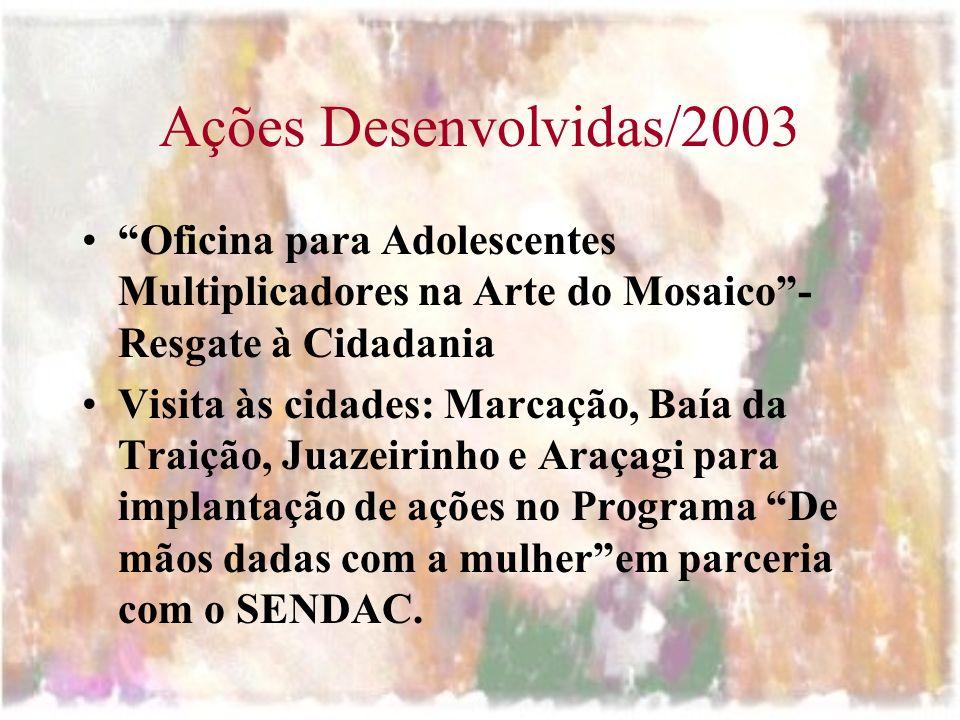 Ações Desenvolvidas/2003 Oficina para Adolescentes Multiplicadores na Arte do Mosaico- Resgate à Cidadania Visita às cidades: Marcação, Baía da Traiçã