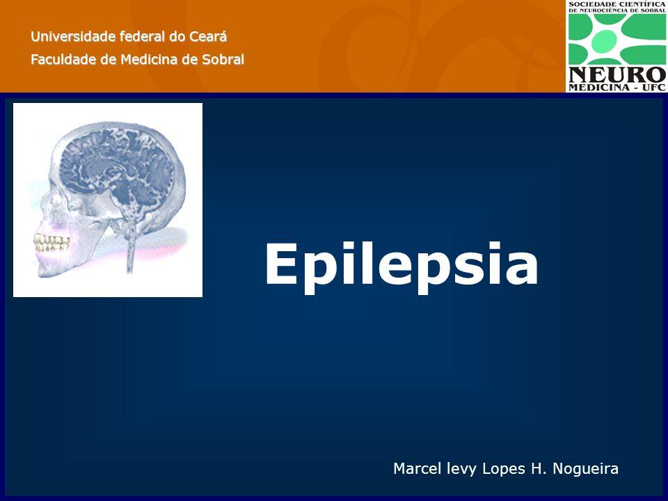 Epilepsia Causas das convulsões Excitação Inibição Convulsão Limiar Equilíbrio Fatores predisponentes endógenos Fatores epileptogênicos Fatores desencadeantes ou precipitantes GenéticaMaturação do SNC História familiar de epilepsia Desenvolvi- mento neurológico anormal TCE AVC Infecções Tumores Estresse psicológico e físico (febre) Privação do sono Alterações hormonais Substâncias tóxicas Fármacos