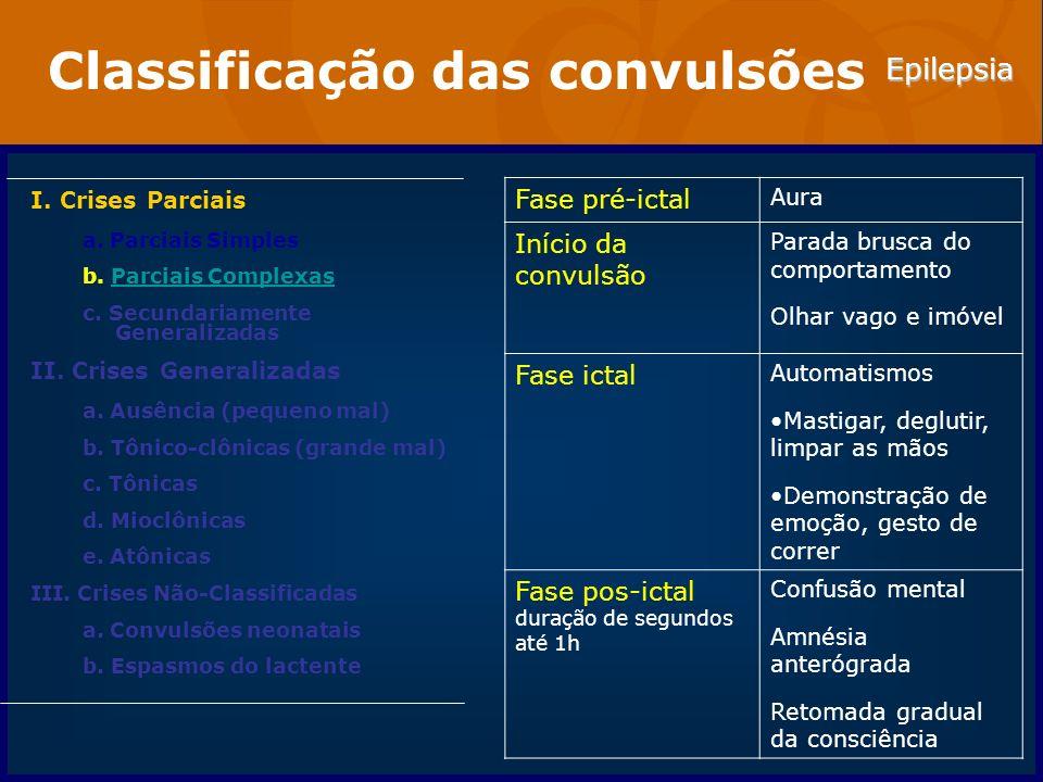 Epilepsia Classificação das convulsões I. Crises Parciais a. Parciais Simples b. Parciais ComplexasParciais Complexas c. Secundariamente Generalizadas