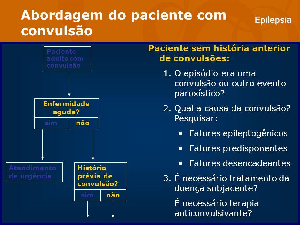 Epilepsia Abordagem do paciente com convulsão Paciente sem história anterior de convulsões: 1.O episódio era uma convulsão ou outro evento paroxístico