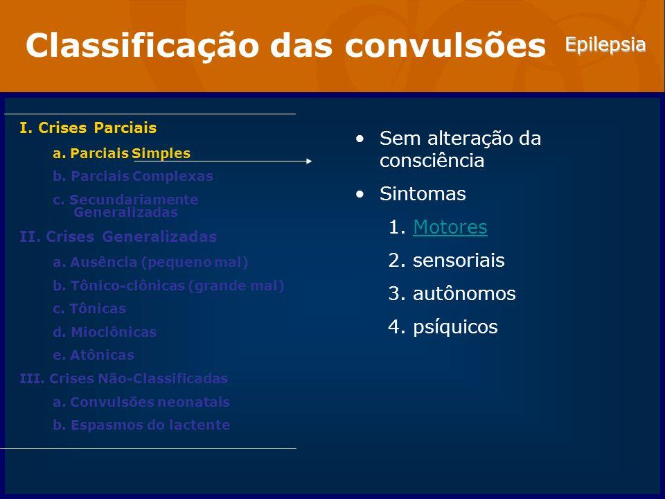 Epilepsia Classificação das convulsões I.Crises Parciais a.