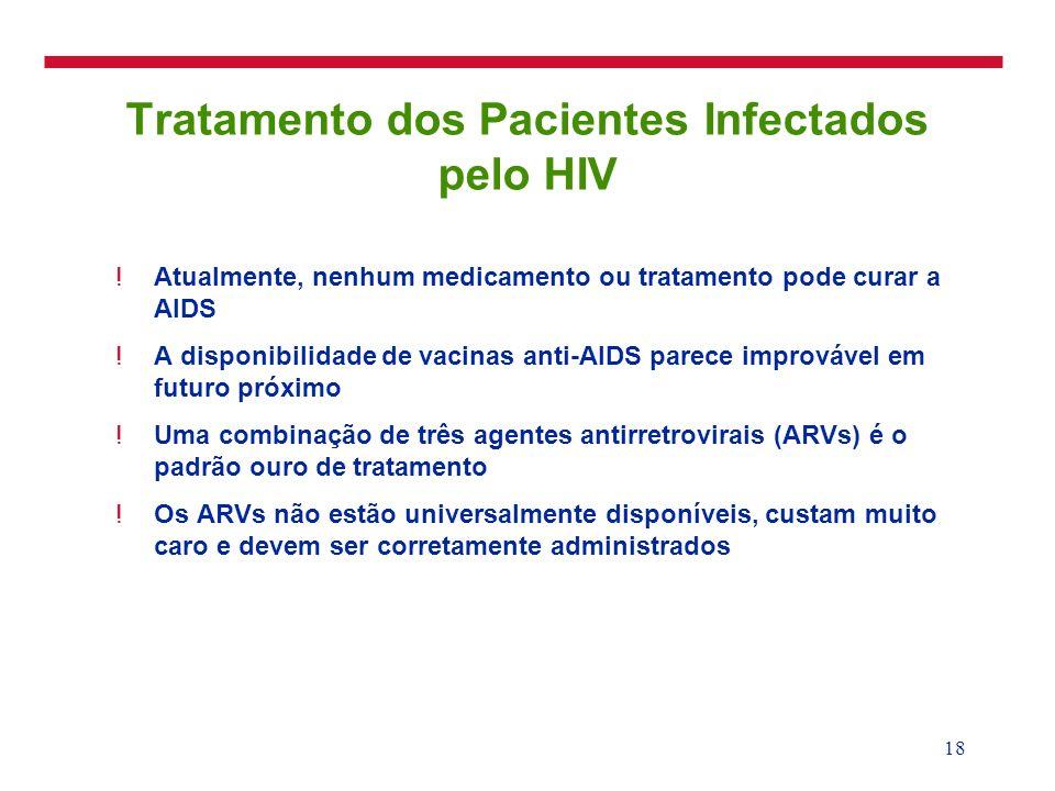 18 Tratamento dos Pacientes Infectados pelo HIV !Atualmente, nenhum medicamento ou tratamento pode curar a AIDS !A disponibilidade de vacinas anti-AID